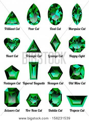 Set of realistic green emeralds with complex cuts isolated on white background. Jewel and jewelry. Colorful gems and gemstones. Trilliant pear oval marquise heart triangle lozenge happy eight.