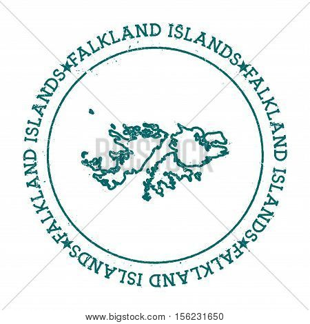 Falkland Islands (malvinas) Vector Map.. Retro Vintage Insignia With Country Map.. Distressed Visa S