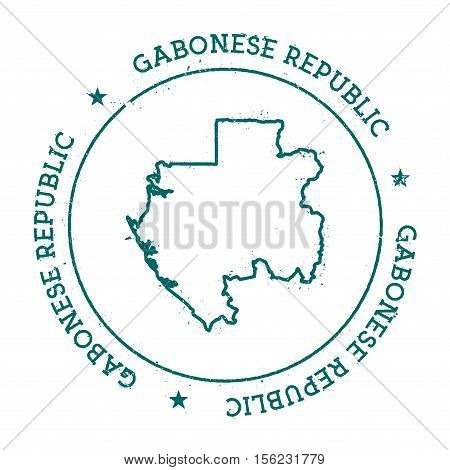 Gabon Vector Map. Retro Vintage Insignia With Country Map. Distressed Visa Stamp With Gabon Text Wra