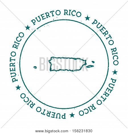 Puerto Rico Vector Map. Retro Vintage Insignia With Country Map. Distressed Visa Stamp With Puerto R