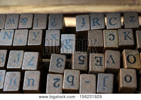 Wooden Stamps AlPhaBet digital and letters .