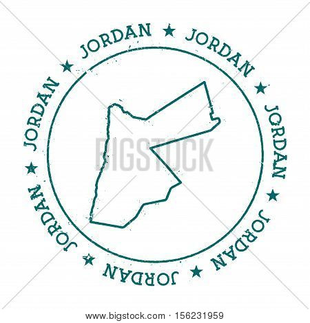 Jordan Vector Map. Retro Vintage Insignia With Country Map. Distressed Visa Stamp With Jordan Text W