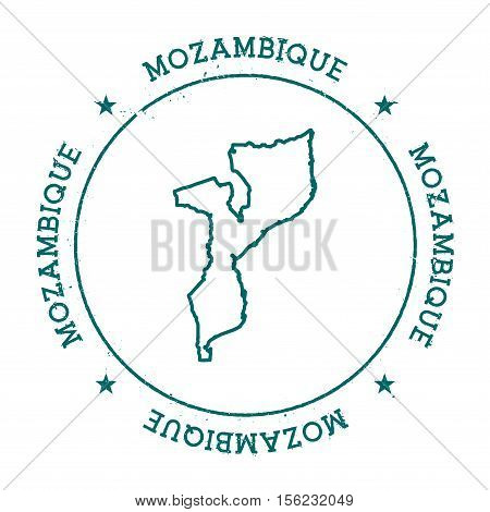 Mozambique Vector Map. Retro Vintage Insignia With Country Map. Distressed Visa Stamp With Mozambiqu