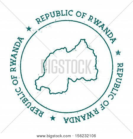 Rwanda Vector Map. Retro Vintage Insignia With Country Map. Distressed Visa Stamp With Rwanda Text W
