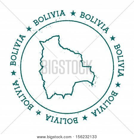 Bolivia Vector Map. Retro Vintage Insignia With Country Map. Distressed Visa Stamp With Bolivia Text