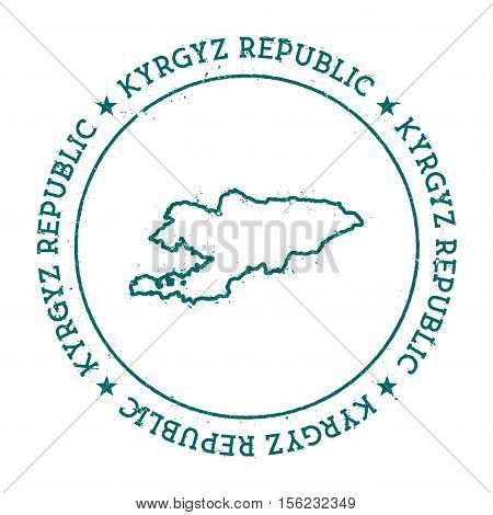 Kyrgyzstan Vector Map. Retro Vintage Insignia With Country Map. Distressed Visa Stamp With Kyrgyzsta