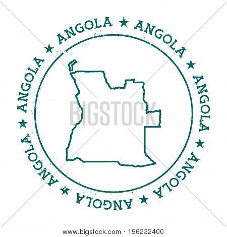 Angola Vector Map. Retro Vintage Insignia With Country Map. Distressed Visa Stamp With Angola Text W