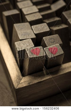 Wooden Stamps Alphabet Digital And Letters With Heart Icon For Love Concept