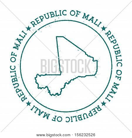 Mali Vector Map. Retro Vintage Insignia With Country Map. Distressed Visa Stamp With Mali Text Wrapp