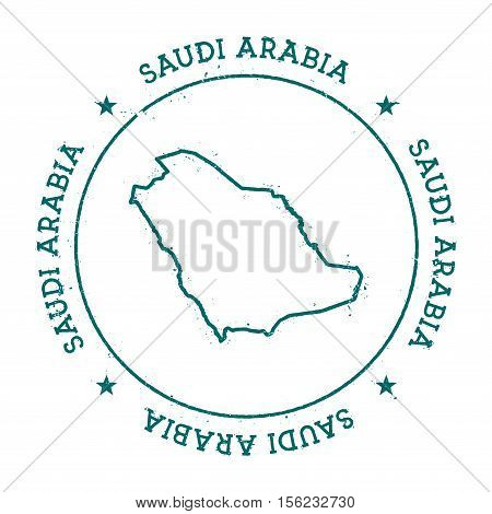 Saudi Arabia Vector Map. Retro Vintage Insignia With Country Map. Distressed Visa Stamp With Saudi A