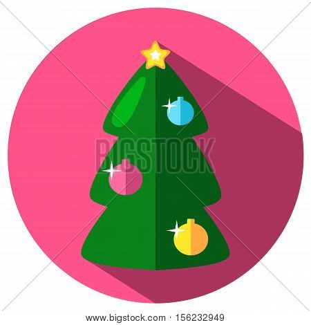 Green Christmas tree with ornament vector icon in flat style. Green fir tree image in flat style. Christmas or New Year stamp or logo with fir tree. Fir tree with ornament. Winter holiday icon