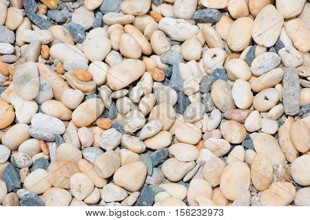 Beach Stone Abstract Background, Round And Plain Stone
