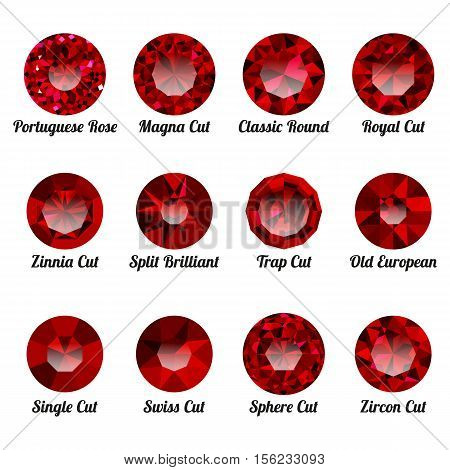 Set of realistic red rubies with round cuts isolated on white background. Jewel and jewelry. Colorful gems and gemstones. Magna classic round royal zinnia trap single swiss sphere zircon