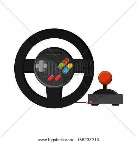 Videogame wheel icon. Game play leisure gaming and controller theme. Isolated design. Vector illustration