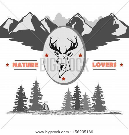 in the middle of the medallion with a deer head  against the background of the inscription, the mountains and the woods with a tent. totally vector illustration.