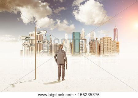 Rear view of a businessman holding a case and choosing the right road near a large city. Concept of career choice
