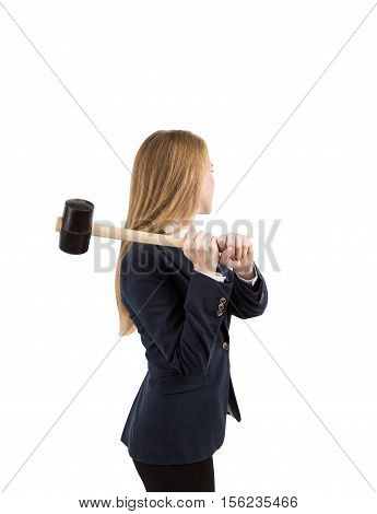 Isolated portrait of blond woman with sledge hammer standing with her side to the viewer. Concept of destruction. Mock up