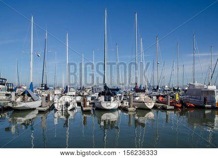 Sailing Boats At Fisherman's Wharf. Pier 39