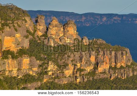 Landscape Of The Three Sisters Rock Formation In The Blue Mountains Of New South Wales Australia