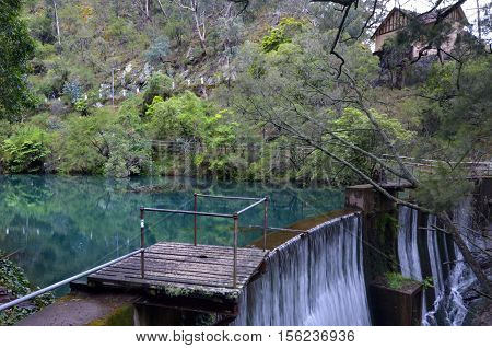 A Dam On The Blue Lake In Blue Mountains In New South Wales, Australia