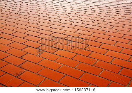 Close up of wet outdoor clay brick pavers forming a patterned pathway in wet rainy weather