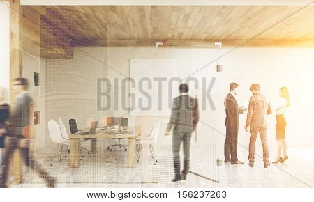 Man entering conference room with glass walls where his colleagues are brainstorming to find the answer. 3d rendering. Mock up. Toned image. Double exposure