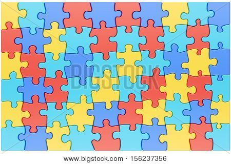 Puzzle Pieces in Autism Awareness Colors Background 3D rendering