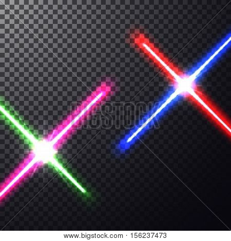 Realistic bright  laser halogen beams. Crossed light swords on isolated transparent background. Weapon futuristic from war. Vector illustration, pattern design elements for your projects