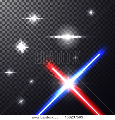 Realistic bright colorful laser beams. Crossed light swords on isolated transparent black background with stars. Weapon futuristic from war. Vector illustration, design elements for your projects