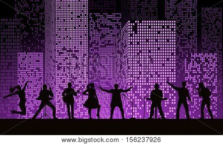 Band Show On Night City Background At Purple Style. Festival Concept. Set Of Silhouettes Of Musician