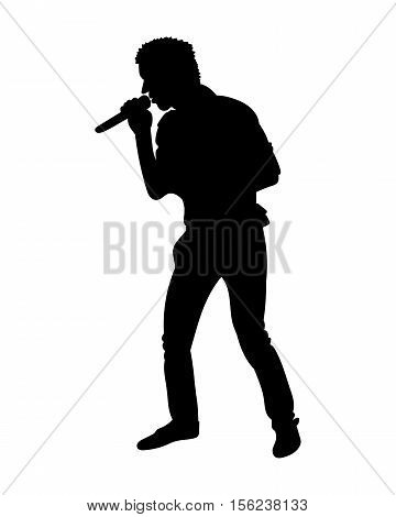 Silhouettes Of Showman Singer With Microphone. Vector Illustration