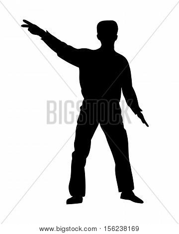 Silhouettes dancing showman isolated on white. Vector illustration
