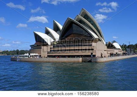 Sydney, Australia - 19 October 2016: Sydney Opera House as viewed from the water on a ferry in Sydney New South Wales Australia.