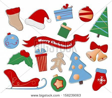 Merry Christmas vector clipart. Festive set of winter holiday icons on white background. Christmas holly and bells fir tree ornament Santa sleigh and hat gingerbread man gift box. New year patches
