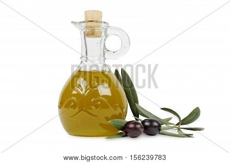 olive oil, olives and olive branch isolated on white background