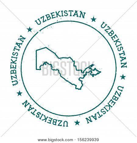 Uzbekistan Vector Map. Retro Vintage Insignia With Country Map. Distressed Visa Stamp With Uzbekista
