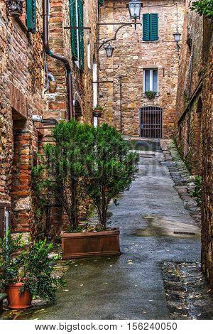 a narrow backstreet in Montepulciano in Italy
