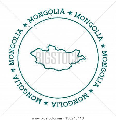 Mongolia Vector Map. Retro Vintage Insignia With Country Map. Distressed Visa Stamp With Mongolia Te