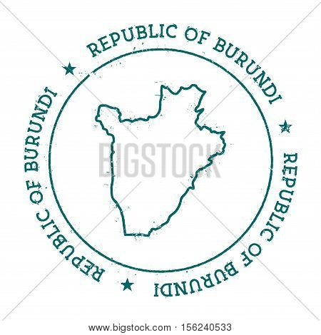 Burundi Vector Map. Retro Vintage Insignia With Country Map. Distressed Visa Stamp With Burundi Text