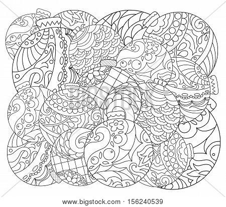 Christmas tree ornament adult coloring page. Vector coloring page with fir tree ornament. Hand-drawn Christmas ornament for coloring. Doodle balls for Christmas or New Year colored greeting card