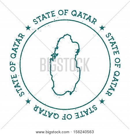 Qatar Vector Map. Retro Vintage Insignia With Country Map. Distressed Visa Stamp With Qatar Text Wra