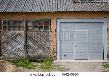 Two Garage Doors On House