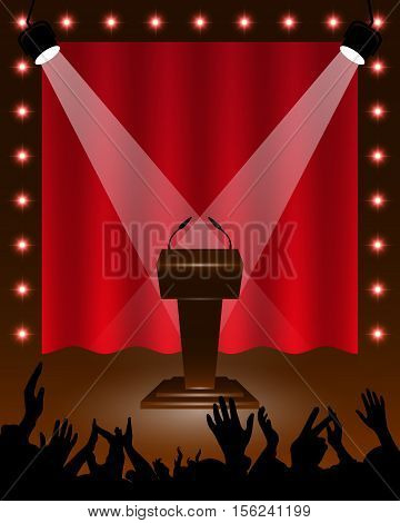 Tribune for performances speaker with microphones on stage spotlights cheering fans background for design activities. Vector illustration.