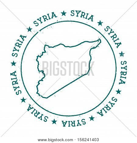 Syrian Arab Republic Vector Map. Retro Vintage Insignia With Country Map. Distressed Visa Stamp With