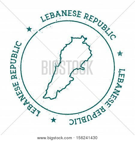 Lebanon Vector Map. Retro Vintage Insignia With Country Map. Distressed Visa Stamp With Lebanon Text
