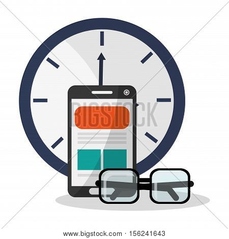 Smartphone and clock icon. Digital marketing media ecommerce seo and business theme. Isolated design. Vector illustration
