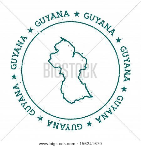 Guyana Vector Map. Retro Vintage Insignia With Country Map. Distressed Visa Stamp With Guyana Text W