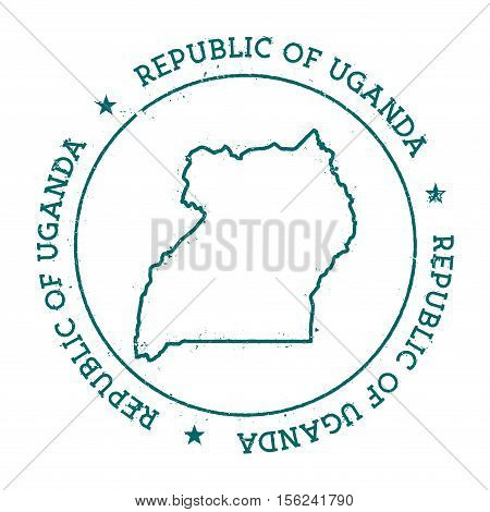 Uganda Vector Map. Retro Vintage Insignia With Country Map. Distressed Visa Stamp With Uganda Text W