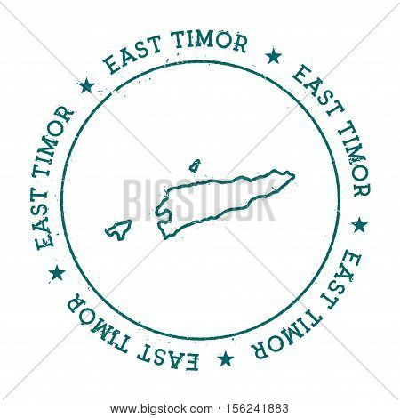 Timor-leste Vector Map. Retro Vintage Insignia With Country Map. Distressed Visa Stamp With Timor-le