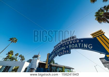 SANTA MONICA, CALIFORNIA - NOVEMBER 2ND 2016: Santa Monica harbor arch in California
